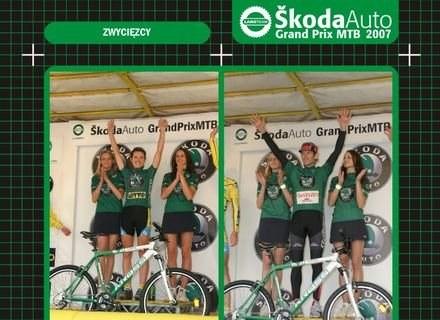 Maja Włoszczowska i Marek Galiński na najwyższym stopniu podium GP MTB 2006 /langteam.pl