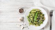 Makaron z zielonym sosem