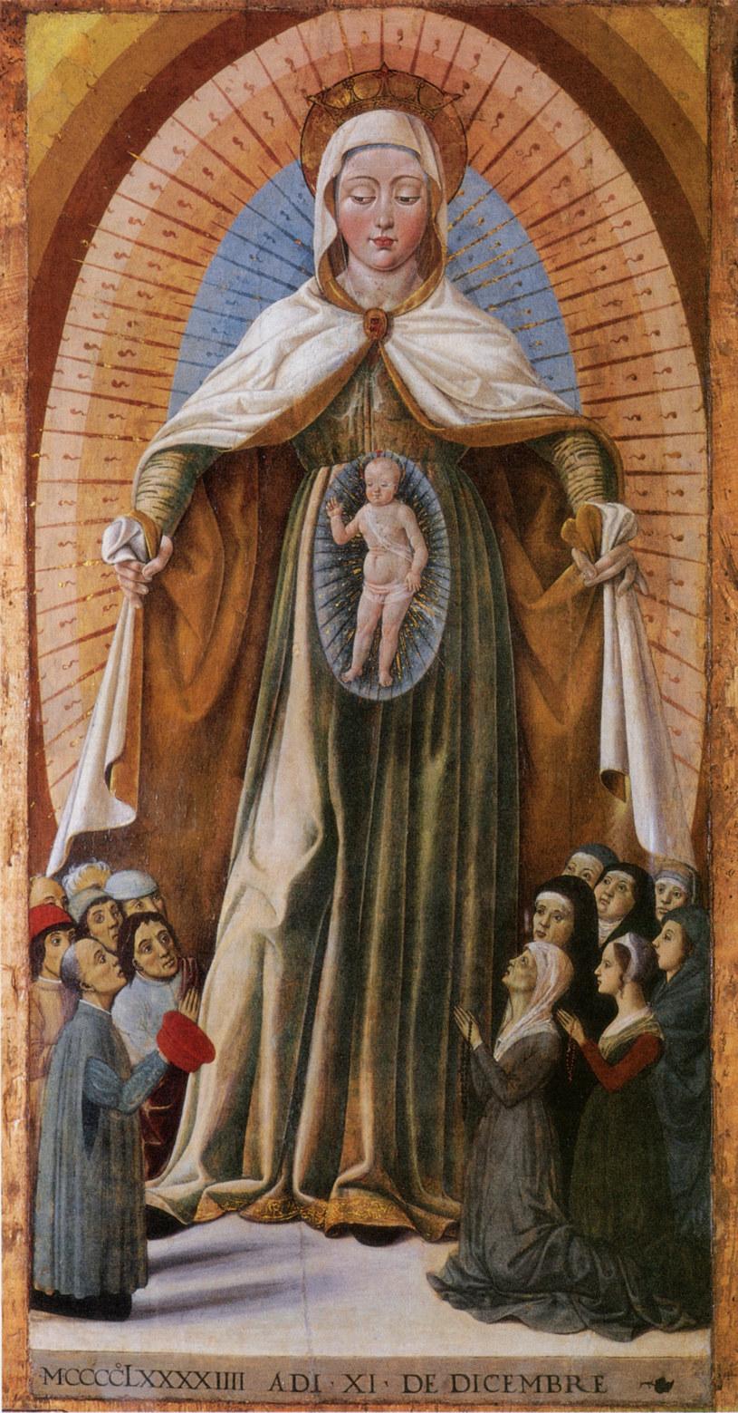 Malarz marchijski, Maria Matka Miłosierdzia, 1494, olej na desce, Rocca Demaniale w Gradarze /