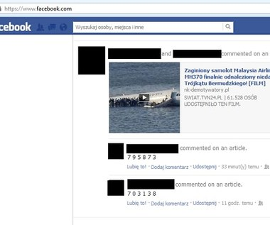 Malezyjski Boeing odnaleziony - kolejne oszustwo na Facebooku