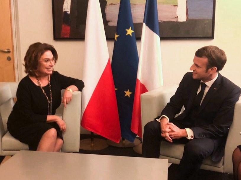 Małgorzata Kidawa-Błońska i Emmanuel Macron /Twitter
