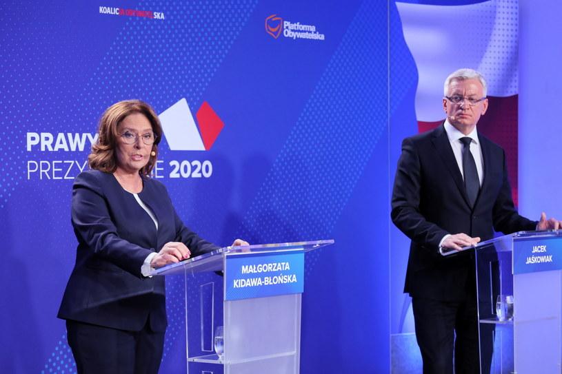 Małgorzata Kidawa-Błońska i Jacek Jaśkowiak w trakcie debaty prawyborczej. /Paweł Supernak /PAP