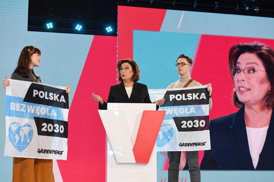 Małgorzata Kidawa-Błońska i młodzi aktywiści Młodzieżowego Strajku Klimatycznego /Piotr Nowak /PAP
