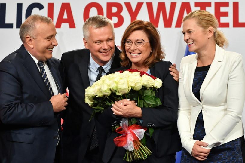 Małgorzata Kidawa-Błońska, liderka Inicjatywy Polska Barbara Nowacka oraz przewodniczący PO Grzegorz Schetyna /Piotr Nowak /PAP
