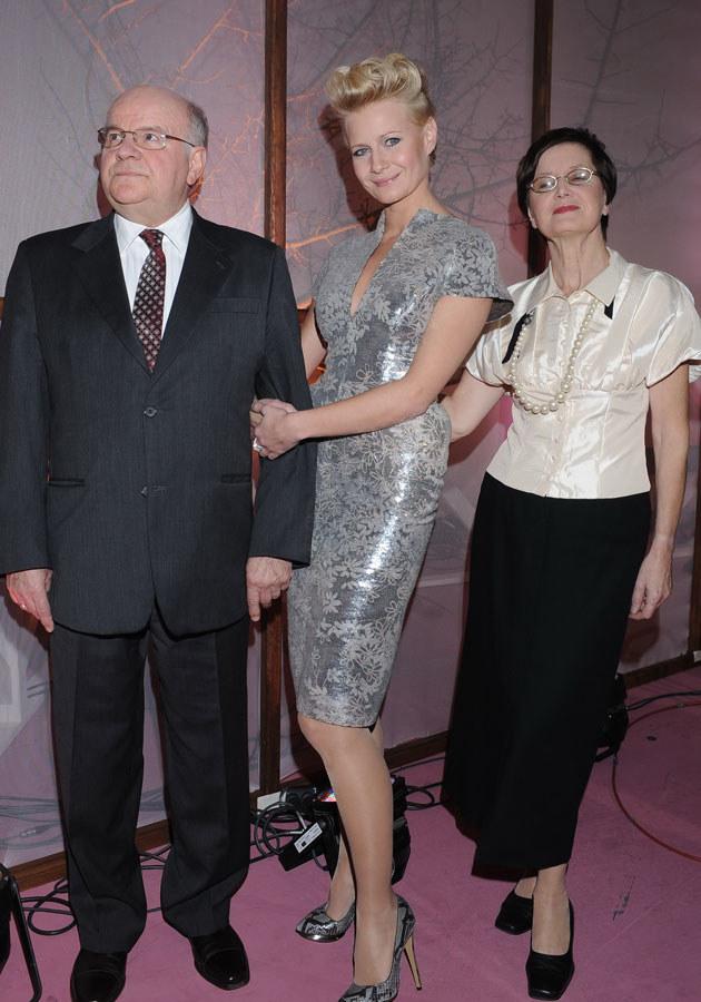 Małgorzata Kożuchowska z rodzicami.  /Andras Szilagyi /MWMedia