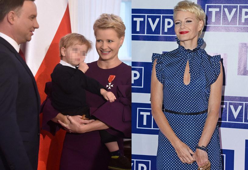 Małgorzata Kożuchowska z synem i Andrzejem Dudą /Adam Chełstowski, MWMedia/Jarosław Antoniak /Agencja FORUM