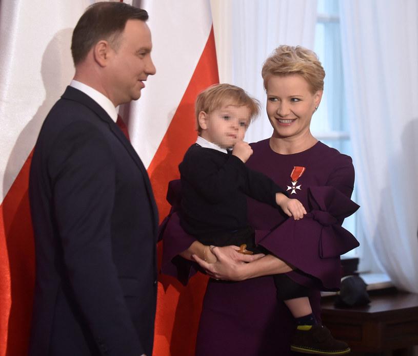Małgorzata Kożuchowska z synkiem i prezydent Andrzej Duda /Adam Chelstowski /Agencja FORUM