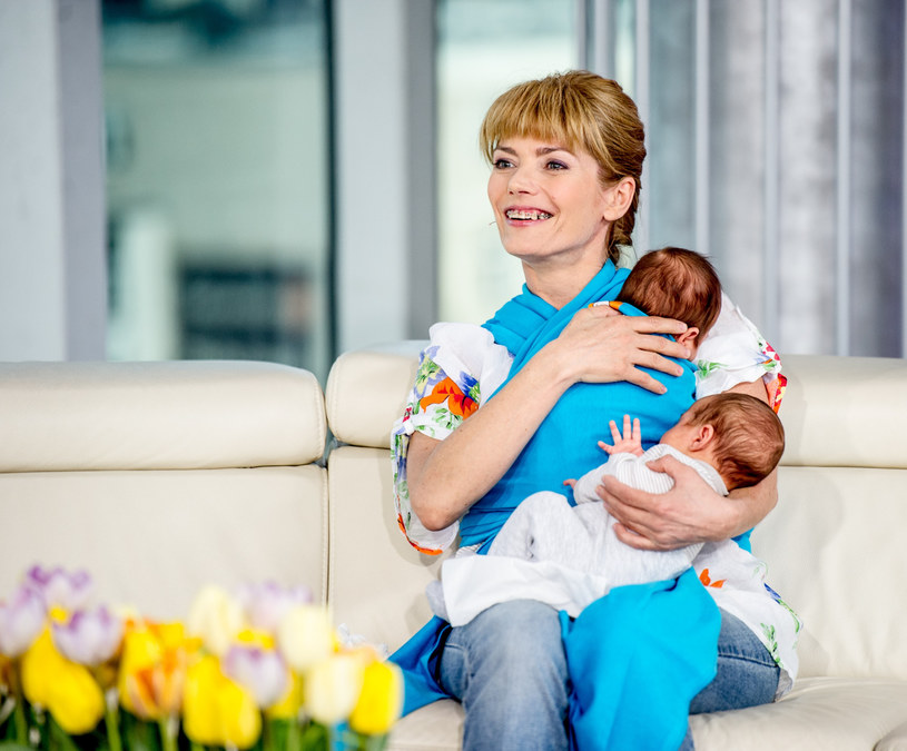 Małgorzata Lewińska z synami, 2014 rok /Piotr Bławicki /East News