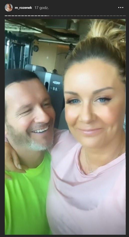 Małgorzata Rozenek-Majdan i Radosław Majdan podczas wspólnego treningu na siłowni /Instagram/ Małgorzata Rozenek Majdan /Instagram