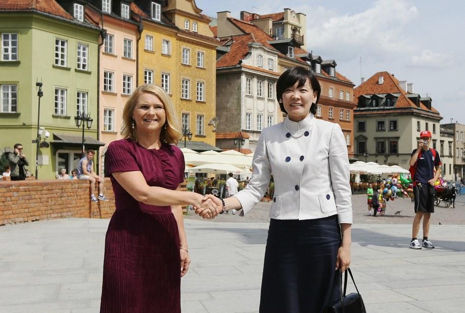 Małgorzata Tusk oraz małżonka premiera Japonii Akie Abe podczas spotkania w Warszawie /Paweł Supernak /PAP