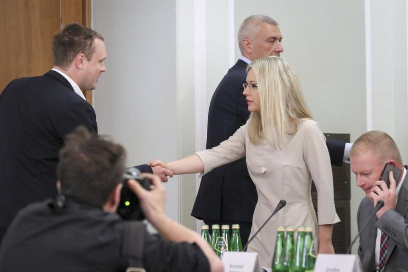Małgorzata Wassermann i Michał Tusk przed posiedzeniem Komisji ds. Amber Gold. W tle Roman Giertych /Andrzej Iwańczuk /Reporter