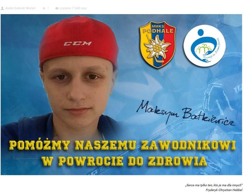 Małopolski klub apeluje o pomoc dla młodego gracza /Strona internetowa Podhala Nowy Targ /Internet