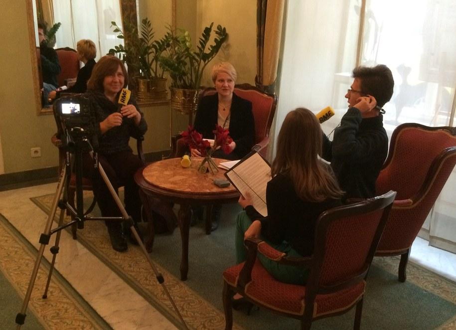 Malwina Zaborowska i Maciej Nycz w rozmowie z noblistką Swietłaną Aleksijewicz /Zdjęcie dzięki uprzejmości Grand Hotelu /RMF FM