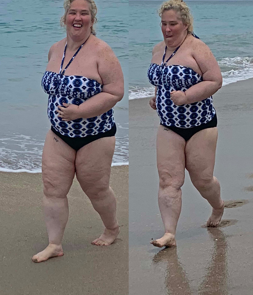 Mama June ćwiczy na plaży /MEGA /Agencja FORUM