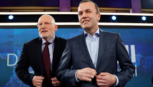 Manfred Weber i Frans Timmermans. /ALEXANDER BECHER /PAP/EPA