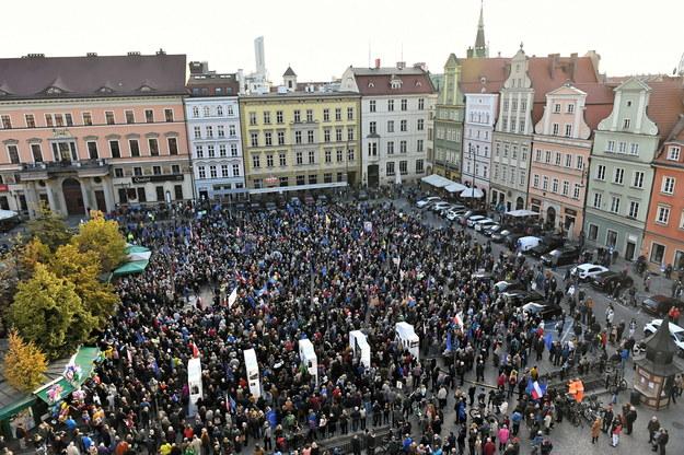 Manifestacja na placu Solnym we Wrocławiu / Maciej Kulczyński    /PAP