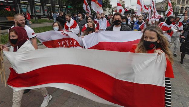 Manifestacja poparcia dla białoruskiej opozycji w Kijowie /SERGEY DOLZHENKO /PAP/EPA