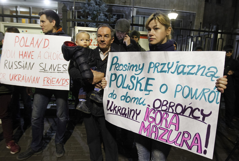 Manifestacja przed ambasadą RP w Kijowie, która odbyła się po aresztowaniu Ihora Mazura. /SOPA Images/Sipa USA /East News