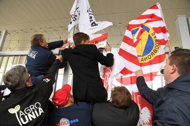 Manifestacja przed siedzibą spółki Anwil we Włocławku /Tytus Żmijewski /PAP