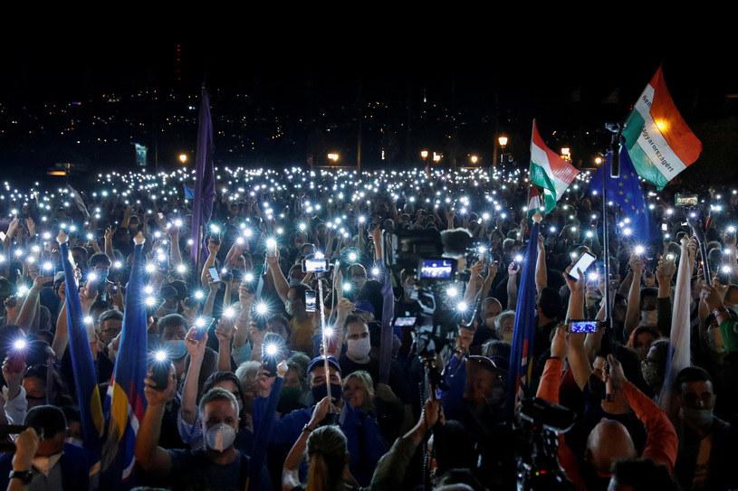 Manifestacja w obronie prasy na Węgrzech, 24 lipca 2020 /REUTERS/Bernadett Szabo /Agencja FORUM