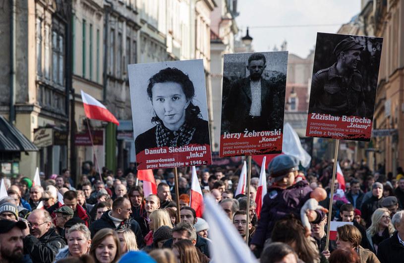 Manifestacja z okazji Narodowego Dnia Żołnierzy Wyklętych w Krakowie /Jan Graczyński /East News