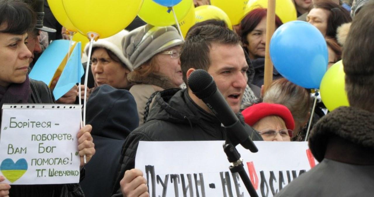 Manifestacje w Symferopolu na Krymie