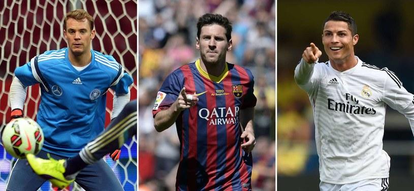 Manuel Neuer, Lionel Messi i Cristiano Ronaldo walczą o Złotą Piłkę FIFA /AFP