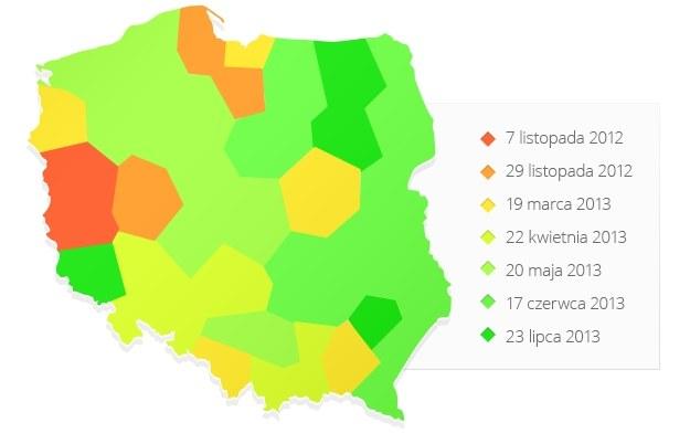 Mapa 7 etapów cyfryzacji Polski - w kolejnych regionach od 7 listopada wyłączana będzie analogowa TV /INTERIA.PL