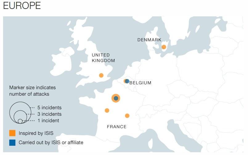 Mapa ataków przeprowadzonych w Europie, fot. CNN /