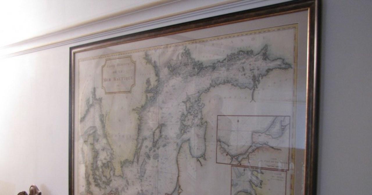 Mapa Bałtyku z XVIII wieku w Domu Uphagena