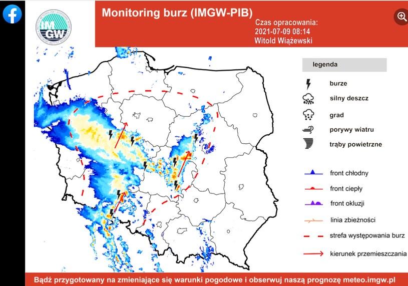 Mapa burzowa. Gdzie jest burza? , fot. https://www.facebook.com/burzaalertimgw /