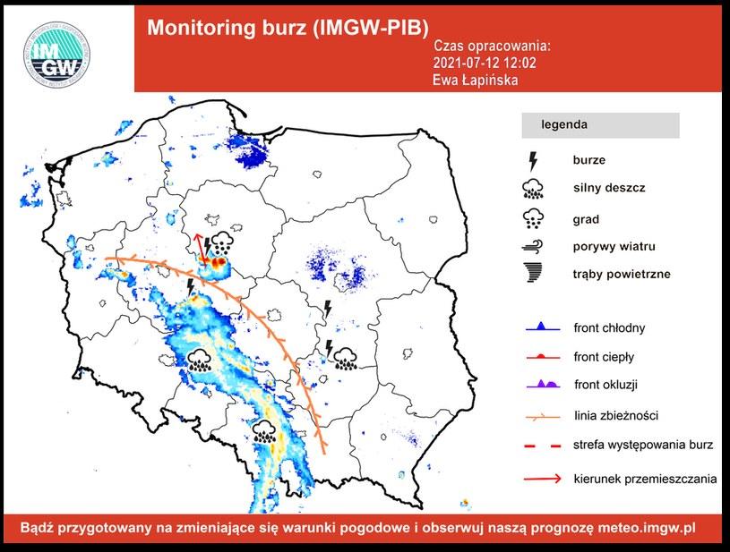 Mapa burzowa IMGW, fot. https://www.facebook.com/burzaalertimgw /