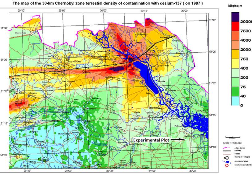Mapa Czarnobyla, na której zaznaczono miejsce uprawy zboża, które wykorzystano do produkcji wódki Atomik /materiały prasowe