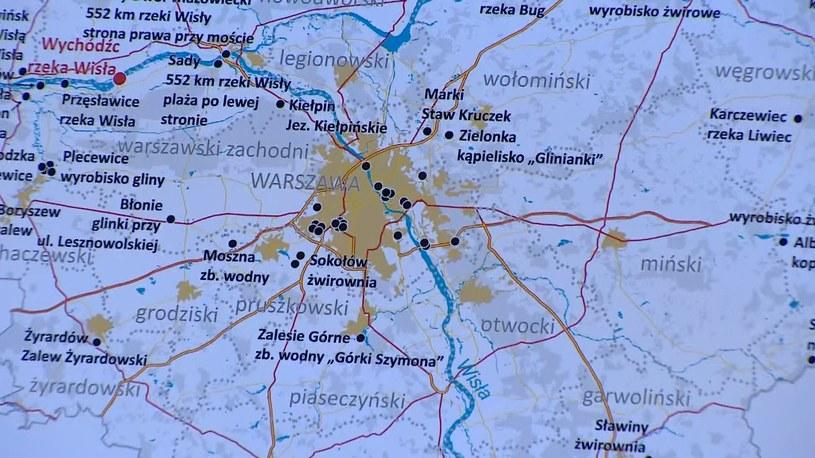 Mapa czarnych punktów wodnych na Mazowszu /Polsat News