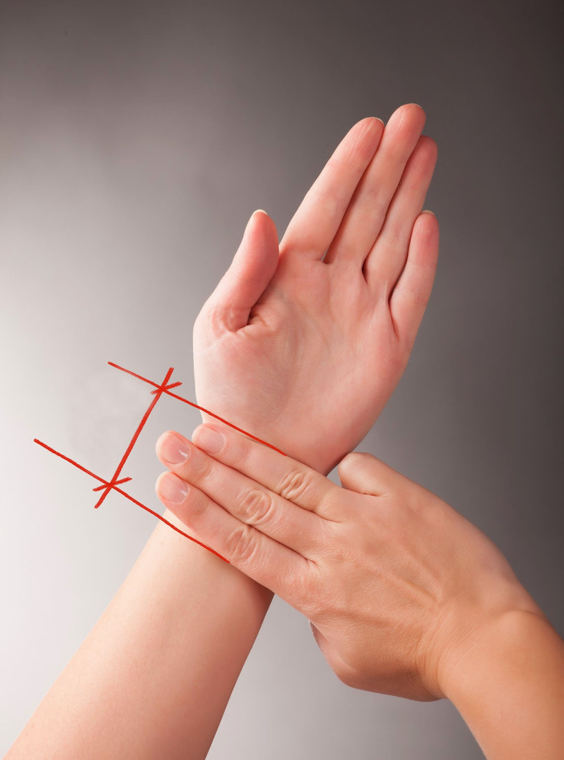 Mapa dłoni - punkt uciskania przy nudnościach /© Photogenica