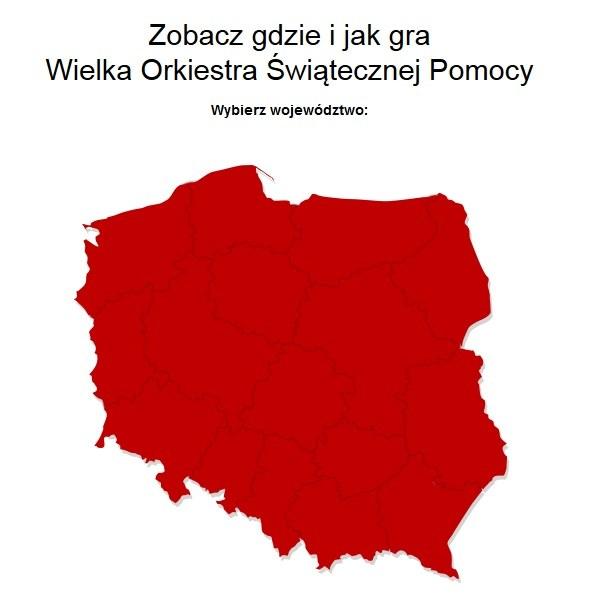 Mapa dostępna na stronie wosp.interia.pl /INTERIA.PL