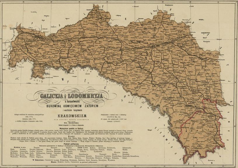 Mapa Galicji w okresie zaborów (tzw. Królestwo Galicji i Lodomerii) /Biblioteka Narodowa