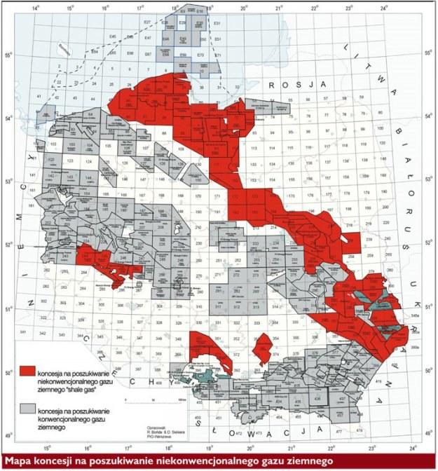 Mapa koncesji na poszukiwanie niekonwencjonalnegogazu ziemnego /Tygodnik Solidarność