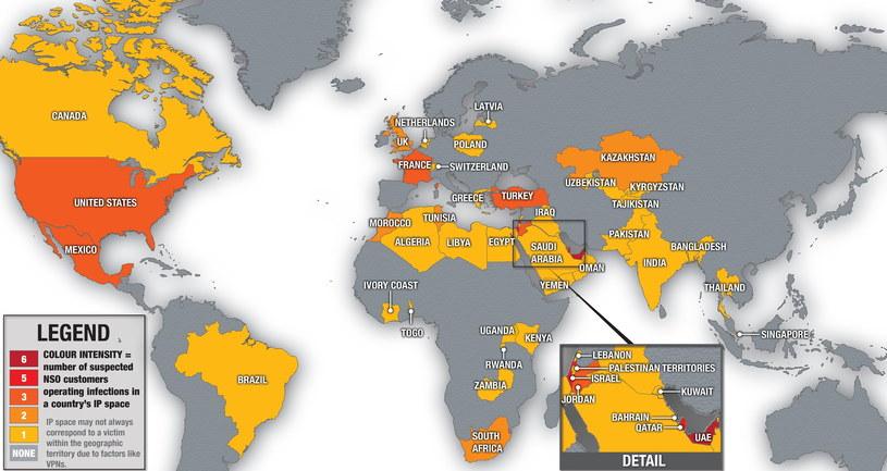Mapa krajów korzystających z Pegasusa udostępniona przez The Citizen Lab w 2018 roku /materiały prasowe