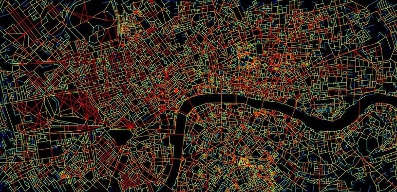 Mapa Londynu, pokazująca poziom komplikacji poszczególnych skrzyżowań (na czerwono - największy) /materiały prasowe