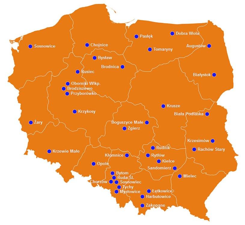 """Mapa miejsc biorących udział w akcji """"Burek sam nie poprosi o pomoc"""" /INTERIA.PL"""