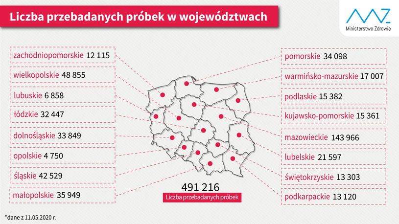 Mapa Ministerstwa Zdrowia opublikowana w dniu 11.05.2020 /Twitter