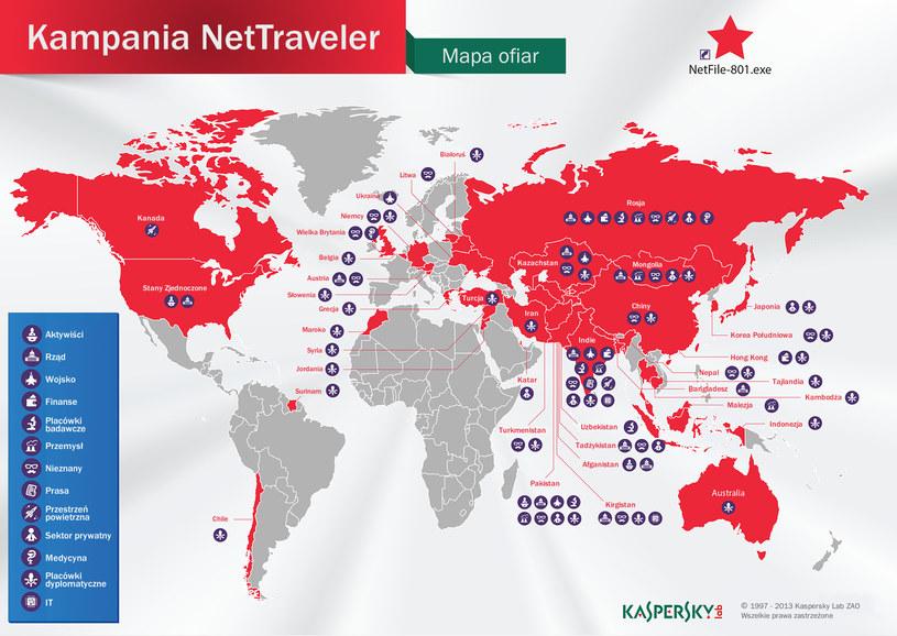 Mapa ofiar oferacji NetTraveler /materiały prasowe