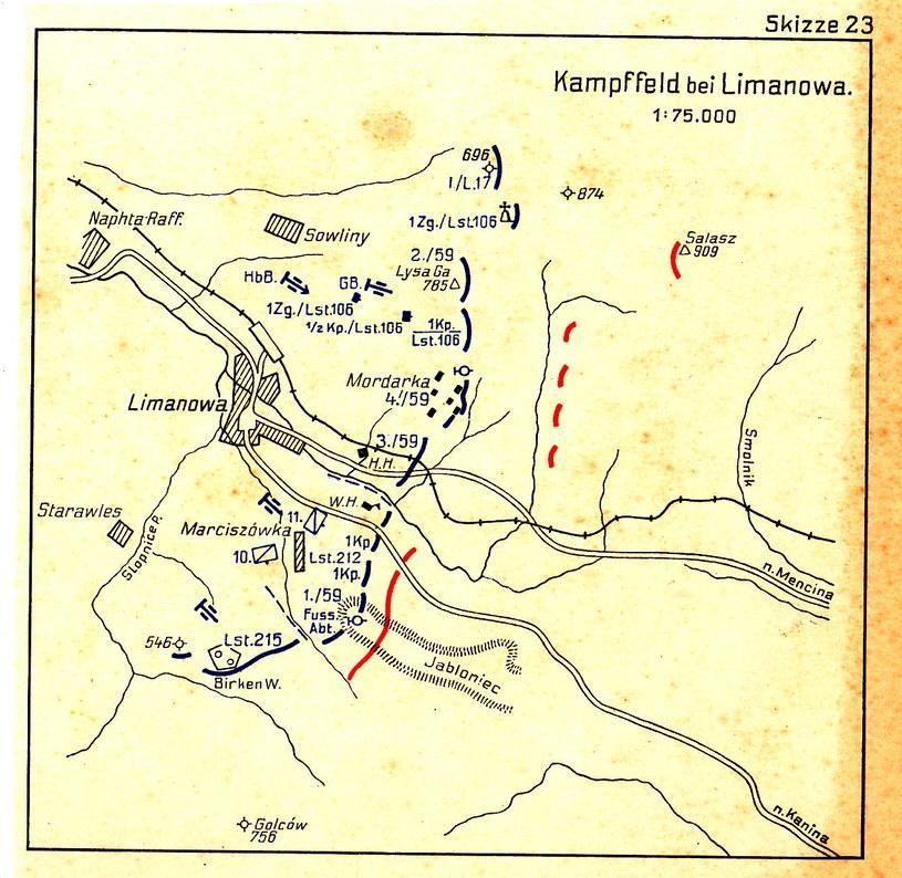 Mapa operacyjna - Limanowa, 1914 r. Ze zbiorów Ireneusza Piszczka /miasto.limanowa.pl /