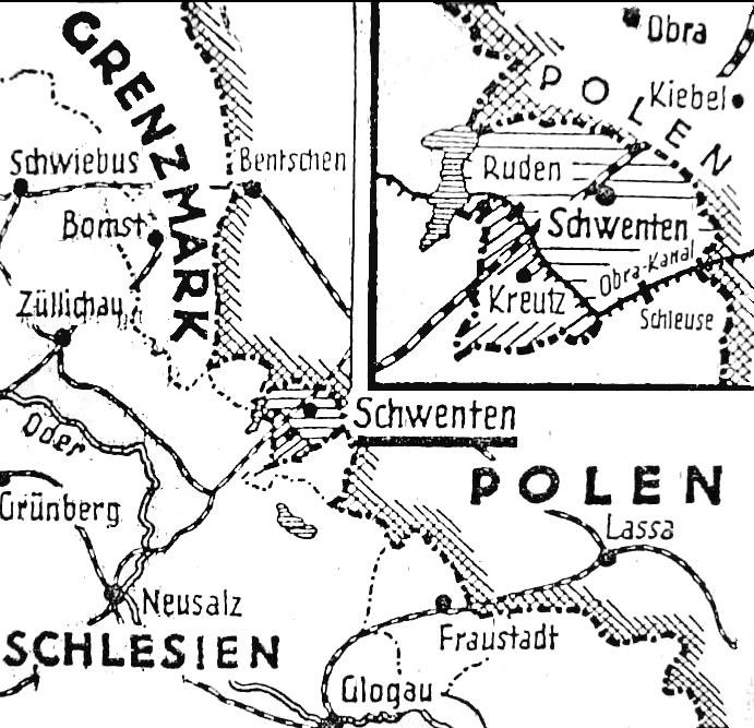 """Mapa opublikowana w """"Die Grenze Post"""" w 1932 roku /Wikimedia"""