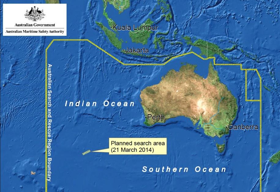 Mapa planowanego obszaru poszukiwań Boeinga 777 /Australian Maritime Safety Authority (AMSA) /PAP/EPA