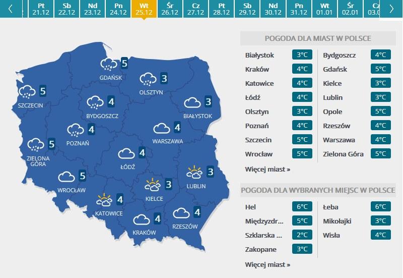 Mapa pogodowa - Boże Narodzenieb /INTERIA.PL