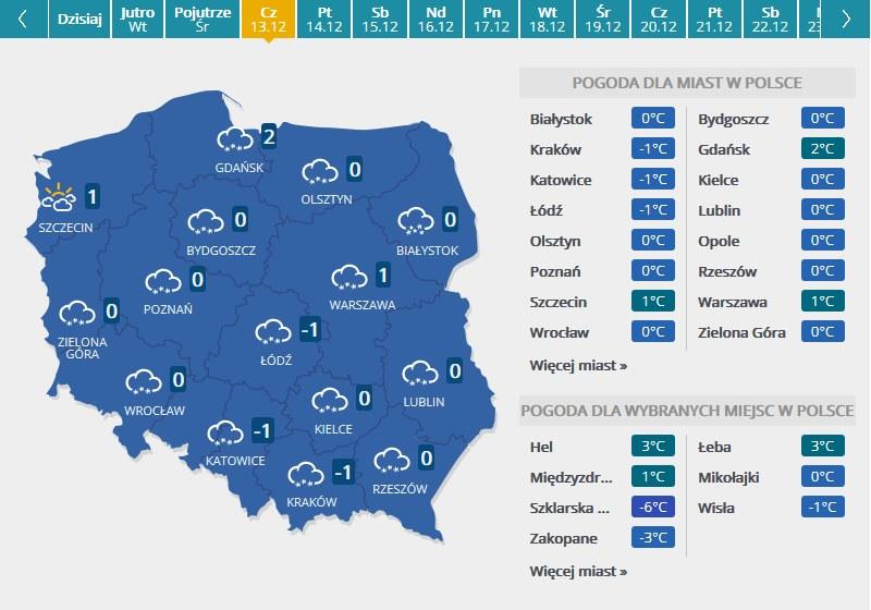 Mapa pogodowa - czwartek /INTERIA.PL