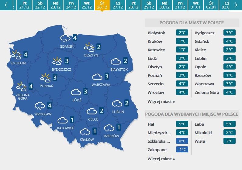 Mapa pogodowa - drugi dzień świąt /INTERIA.PL
