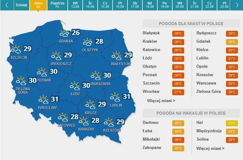 Mapa pogodowa na niedzielę /INTERIA.PL